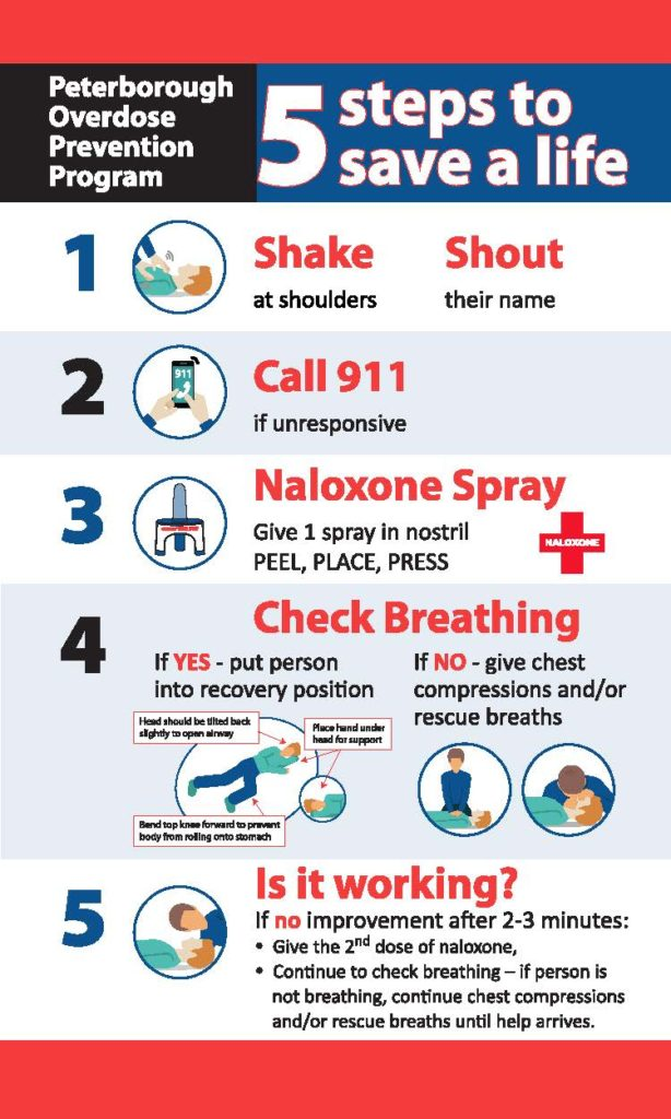 1. Shake at shoulders and shout their name. 2. Call 911 if they are unresponsive. 3. Naloxone Spray. Give 1 spray in nostril. Peel, place, press. 4. Check if breathing. If yes - put person into recovery position. If no - give chest compressions and/or rescue breaths. 5. Is it working? If no improvement after 2-3 minutes give 2nd spray. Continue to check breathing - if person is not breathing, continue chest compressions and/or rescue breaths until help arrives.